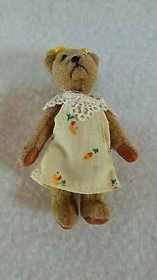 Miniature Teddy Bear 2 3/4 Tall Jointed With  Flowered Dress And Bow