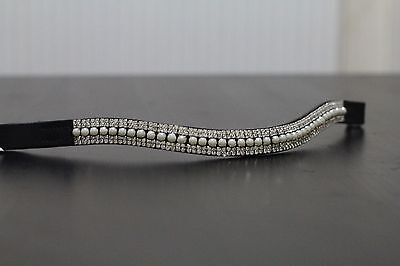 Equipride Diamante Bling Sparkly Browband 5 Row Crystals Dressage Pearl Clear