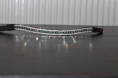 Equipride Diamante Bling Sparkly Browband 3 Row Crystals Dressage Green