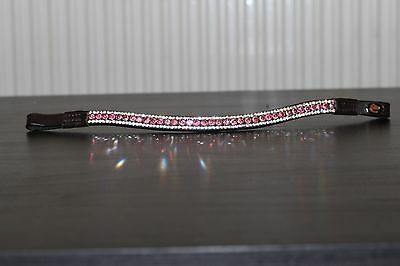 Equipride Diamante Bling Sparkly Browband 3 Row Crystals Dressage Pink