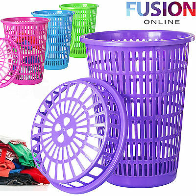 50 Litre Large Plastic Laundry Washing Clothes Linen Storage Bin Basket With Lid