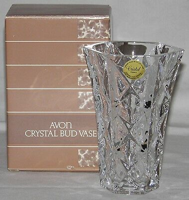 1987 CRYSTAL BUD VASE Avon FRANCE Vintage NEW OLD STOCK In BOX 24% Lead CRYSTAL