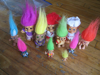 """Lot of 11 Trolls Dolls Various sizes and Brands Vintage  1"""" to 6"""" Great Lot!"""