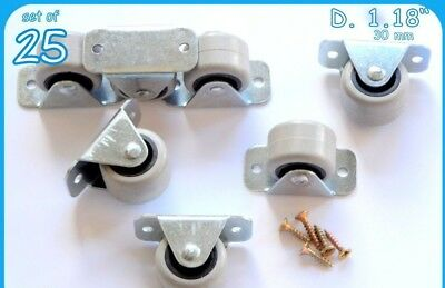 25 Rubber Rigid Fixed Caster Wheels Casrers 30 Mm  Bed Drawer/Furniture Boxes