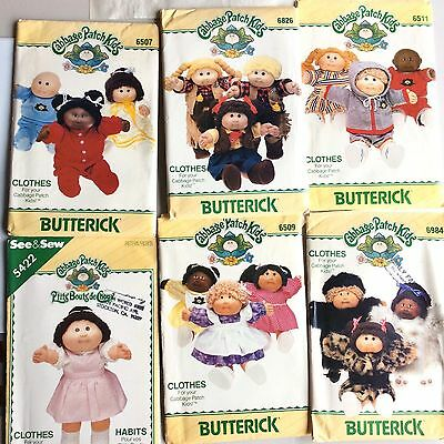 Set of 6 Vintage Cabbage Patch Kids Clothes Butterick Sewing Craft Patterns
