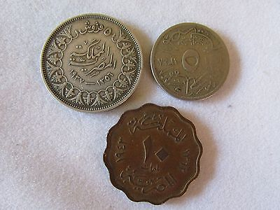 3 old coins Egypt ? Piastres and others Middle East Coin Coins
