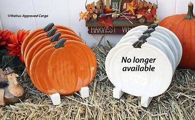 Pottery Barn Pumpkin-Shaped Salad Plates -Nib- You'Ll Know Jack About Meal Time!
