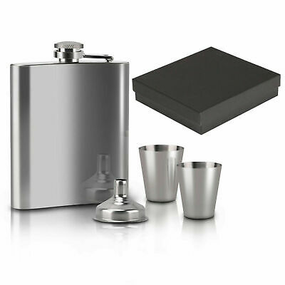 7oz Stainless Steel Hip Flask Liquor Alcohol Bottle 2Cups Funnel Set Gift Box