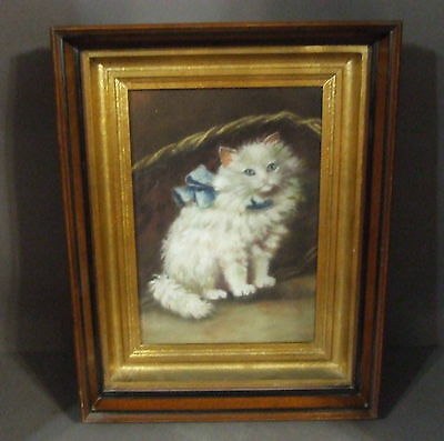 Antique Persian Cat Print In Shadowbox Eastlake Frame