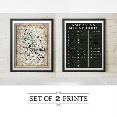 The Walking Dead Terminus Map Morse Code Poster Print Gift Set Replica Prop Art