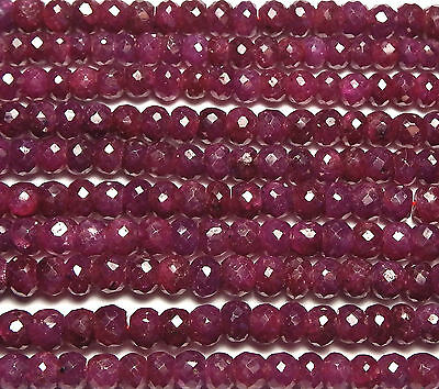 """16"""" Strand Genuine RUBY 3-3.5mm Faceted Rondelle Beads /d1"""