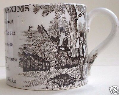 FINE Antique Child's MUG Ben Franklin's Maxims  Early 19th C. Transfer *  RARE $