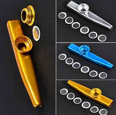Metal Kazoo + Kazoo Harmonica Mouth Flute Kids Party Kid Musical Instrument Gift