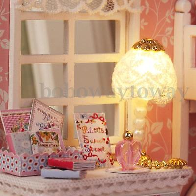 DIY Wooden Dolls House Room Miniature Kit with Furnitures LED Light + Cover Box