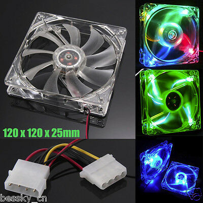 1PC 120mm Quad 4-pin LED Light Neon Clear PC Computer Case Cooling Fan Mod
