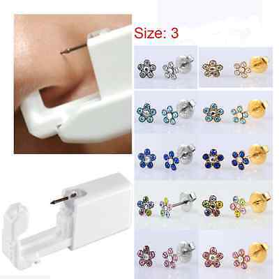 Flower Disposable Sterile Body Ear Nose lip Piercing Device Kit Tool Stud Safety