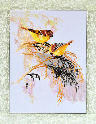 "18"" Brocaded Chinese Traditional Silk Embroidery Painting: Yellow Bird On Weed"