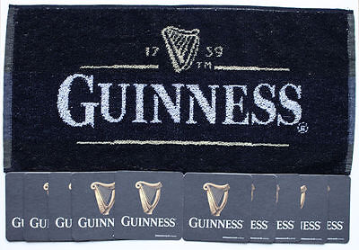 GUINNESS IRISH  Pub Bar Towel & 10 matching Beer Mat Coasters