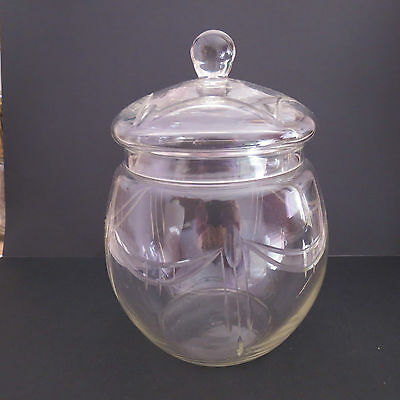 Nice art deco glass biscuit barrel/jar wheel cut pattern
