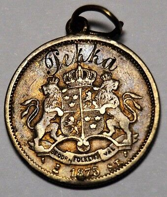 Sweden Silver 1875 Krona Pendant with Name Inscribed