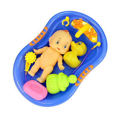 Plastic Baby Doll w/ Bathing Shower & Tub Playset Kids Pretend Play Bath Toy