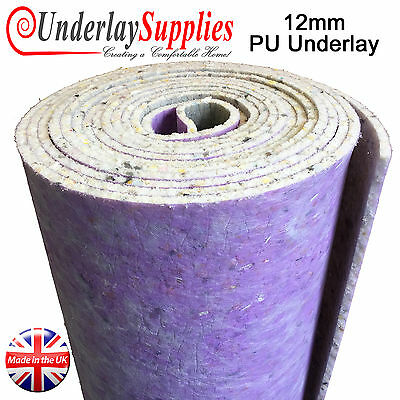 12mm Thick PU Carpet Underlay Full Roll 15m2 UK Manufactured Luxury Feel CHEAP