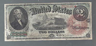 1869 $2 Two Dollar Treasury Note Red Seal