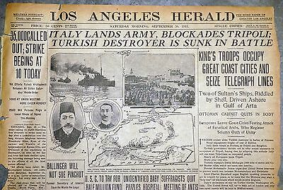 1911 Los Angeles Newspaper Front Page - Italy & Turkey War Begins
