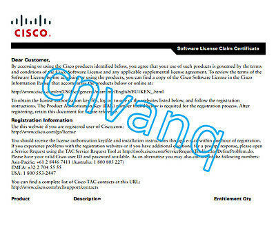 """New Cisco FLSA1-1X-2.5-5G= Upgrade 2.5 Gbps to 5Gbps License 1001-x """"E-Delivery"""""""