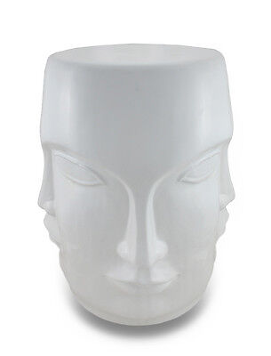 Scratch & Dent Museum White Ceramic Perpetual Face Stool / Plant Stand