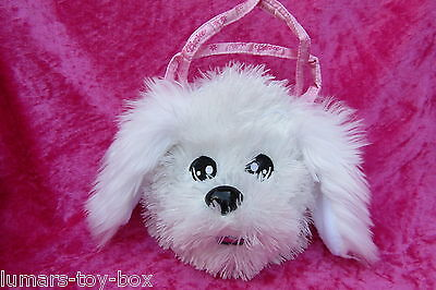 "Barbie WHITE TERRIER PUPPY DOG Round Fluffy Plush Bag 6"" Soft Toy"