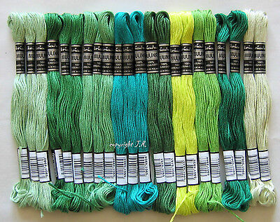 Embroidery Twist Yarn @Green colours@ 24x Cotton green 100%