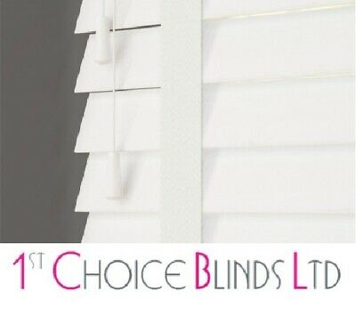 Made to Measure Faux Wood Plastic Venetian Wooden Blind White Slats with Tapes