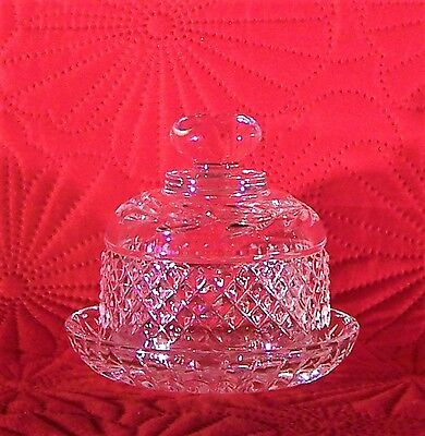 Stunning Galway Crystal Cut Glass Domed  Lidded Butter Pat Dish - 11 cm