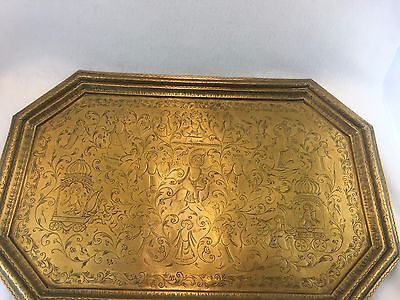 Large Middle Eastern Persian Solid Brass Hand Etched Tray