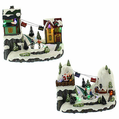 Festive Christmas Light Up Musical Animated Village Cable Car Indoor Decoration