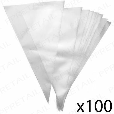 100 x CLEAR DISPOSABLE ICING BAGS Cake Frosting/Fondant/Pastry/Meringue Piping