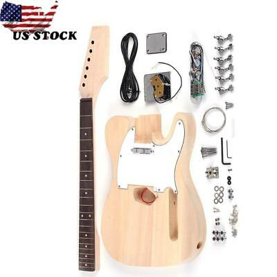TL Style DIY Luthier Unfinished Electric Guitar Kit 3 Ways Pickup 6 Strings Gift
