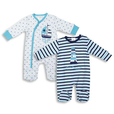 Baby Boys Nautical Sleepsuit Onepiece All-In-One Newborn-6 Months By BABYTOWN