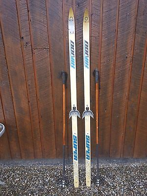 """OLD Interesting Vintage 68"""" Long Skis GRAY Finish Great for Decoration"""