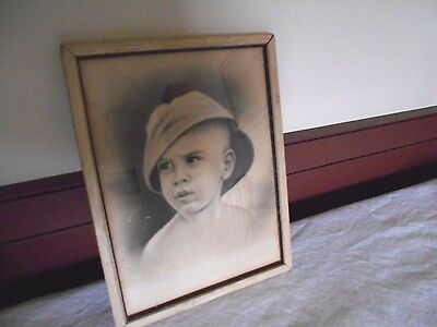 "Antique Vintage Portrait Of A Young Boy In An 8 1/4"" X 10 5/8"" Frame"