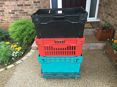 60x45x30cm Extra Deep Plastic Moving removal Crates Storage Stack Boxes + Dolly