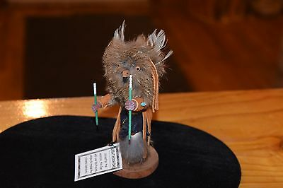 "Superb Great Horned Wise Owl Kachina Carving  6"" Tall/free Shipping"