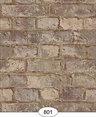 Dollhouse Weathered Brick in Tan Wallpaper