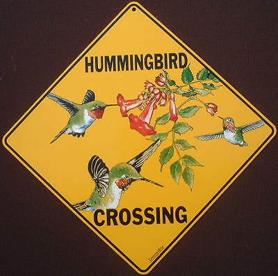 HUMMINGBIRD CROSSING SIGN ALUMINUM birds art decor novelty picture signs home