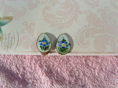Vintage Ivar T Holth Norway Silver & Enamel Earrings - White With Blue Flowers
