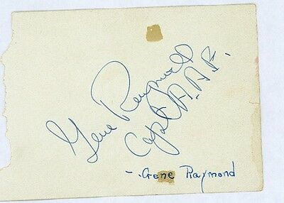 Gene Raymond Vintage Signed Page From Autograph Book Also Signed Capt A.a.f.