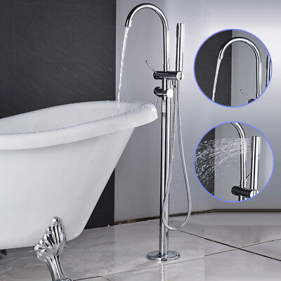Chrome Bathroom Tub Faucet Floor Mount Tub Filler Hand Shower Set Tap  Swivel