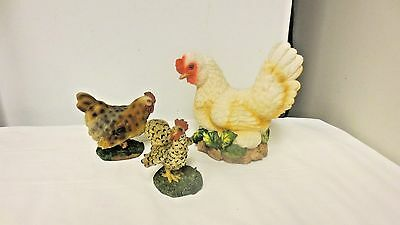 "Lot 3 Resin Type Rooster/Chicken Figures-Various Styles 3"" to 6"""