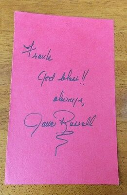 JANE RUSSELL SIGNED 5x9 PIECE OF RED PAPER